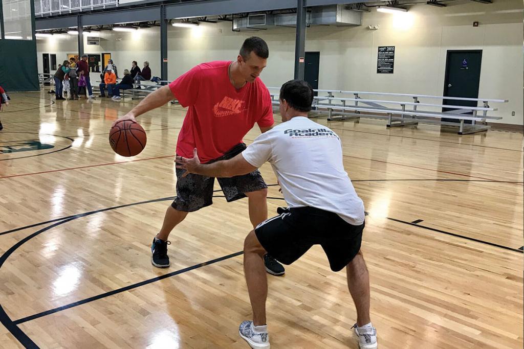 Bloomington Gym - Mark and Mike playing basketball