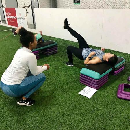 Bloomington Workout - Turf Field stepper leg raise